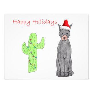 Doberman Pinscher Black Cactus Christmas Custom Invitation