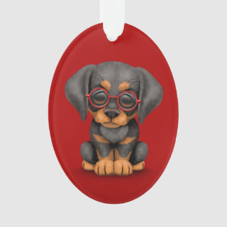 Doberman Puppy Dog with Reading Glasses, red Ornament