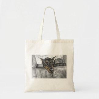 Doberman Riding in Car Tote Bag