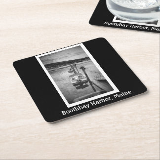 Dockside Boothbay Harbor Maine Square Coasters