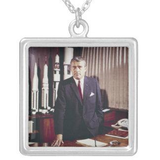 Doctor Wernher von Braun Portrait Silver Plated Necklace