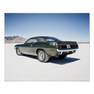 Dodge hemi cuda on Bonneville salt flats Poster