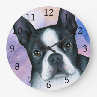 Dog 128 Boston Terrier Pink Blue background Large Clock
