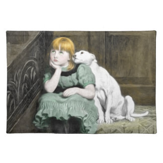 Dog Adoring Girl Victorian Painting Placemat