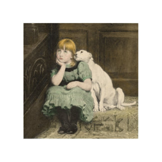 Dog Adoring Girl Wood Wall Art