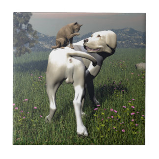 Dog and cat friendship tile