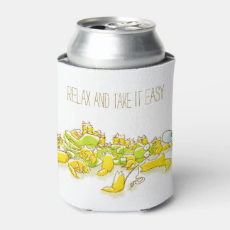 Dog and Full of Cats Funny illustration Can Cooler