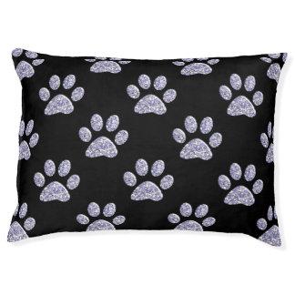 Dog Bed - Lt Lavendar Bling Paw Prints