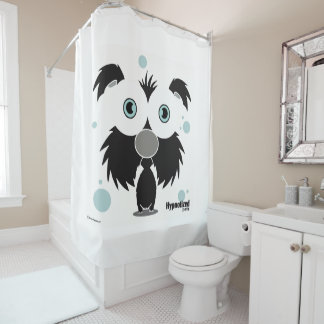 Dog (Black, White Bg) Shower Curtain