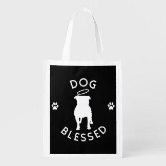 """Dog Blessed"" Pit Bull Angel Resusable Tote Bag"