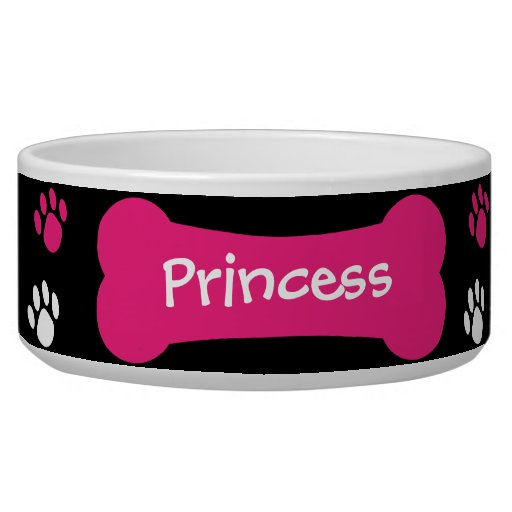 Dog Bone & Paw Prints Personalized Pet Dog Bowl