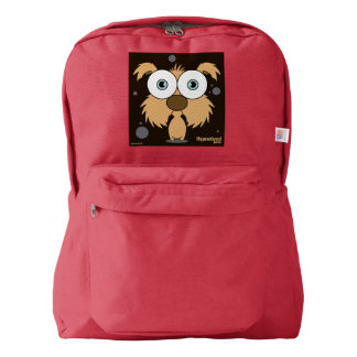 Dog(Brown) Backpack, Red Backpack