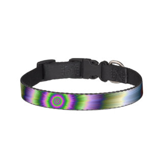 Dog Collar Exploding Blue Green and Pink