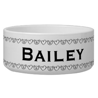 Dog Heart Border Personalized Pet Food Bowl