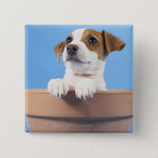 Dog in flowerpot 15 cm square badge