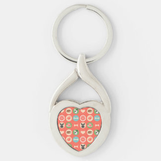 Dog Love on Coral Key Ring