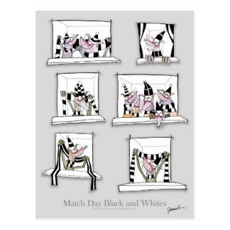 Dog match day black whites postcard