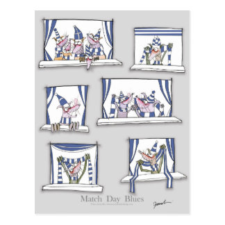 dog match day blues postcard