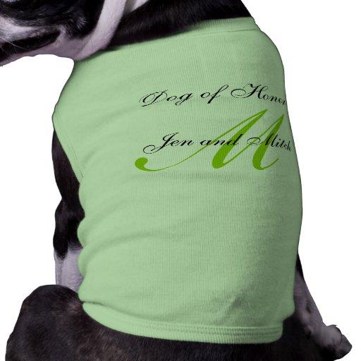 Dog of Honor Wedding Green Dog Shirt Medium