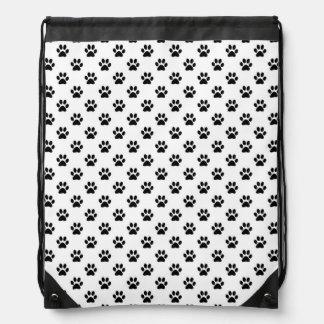 Dog Paw Print Black White Background Metallic Faux Drawstring Bag