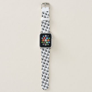 Dog Paw Print Black White Pattern Apple Watch Band