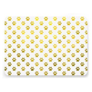 Dog Paw Print Gold White Metallic Faux Foil Paws 13 Cm X 18 Cm Invitation Card