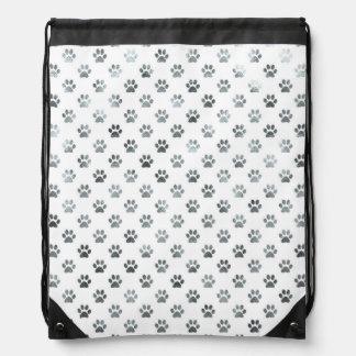 Dog Paw Print Silver Gray White Metallic Faux Foil Drawstring Bag