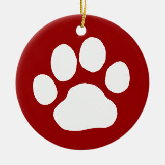Dog Paw Print (White on Red) Christmas Ornament