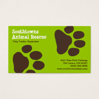 Dog Paw Prints on Green (Customisable) Business Card