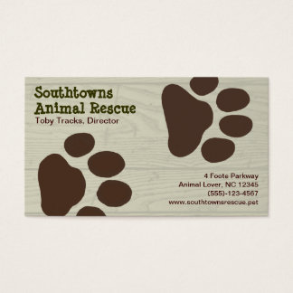 Dog Paw Prints on Wood Style Background Business Card