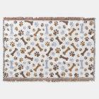 Dog Paw Prints Pattern Throw Blanket