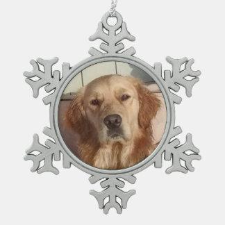 Dog Pewter Snowflake Ornament