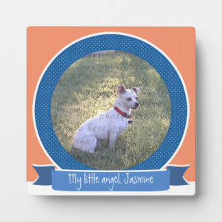 Dog Photo Display Blue Coral White Plaque