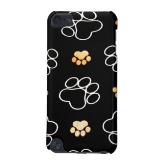 Dog Puppy Paw Prints Gifts Black and Gold iPod Touch 5G Cover