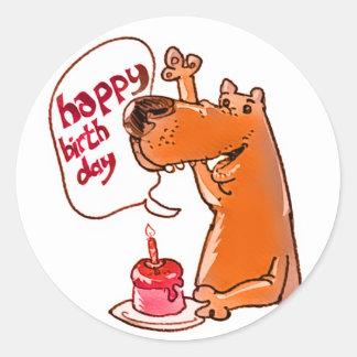 dog says happy birthday cartoon style classic round sticker