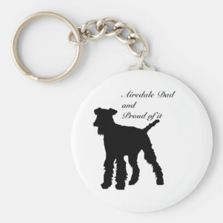 Dog Silhouette Airedale Dad Basic Round Button Key Ring