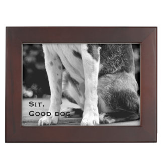 Dog Sit Black and White Keepsake Box