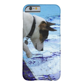 Dog touching water at the swimming pool barely there iPhone 6 case