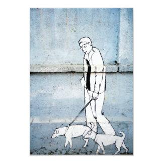 dog walker graffiti on branimirova street, croatia 9 cm x 13 cm invitation card