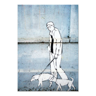 dog walker graffiti on branimirova street, croatia 3.5x5 paper invitation card