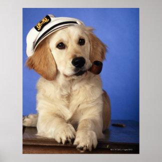 Dog wearing cap, holding smoke pipe poster