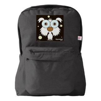 Dog(White) Backpack, Black Backpack