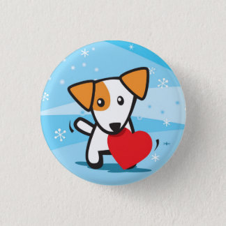 dog with heart in snow 3 cm round badge