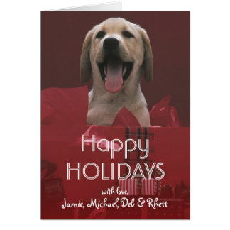 Dog with holiday gifts card
