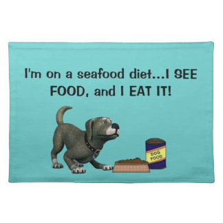 Doggie Humor-Cute Dog+Dog Food and Bowl Place Mat