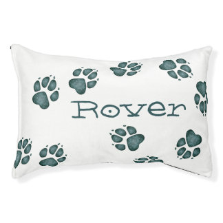 Doggie Paw Prints Blue-Green Splotches-Dog Bed 5