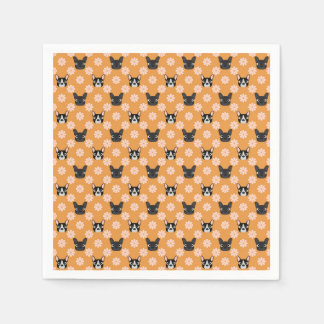 Dogs and Flowers Gold Disposable Napkins