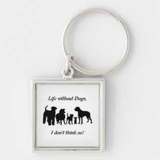 Dogs breed group black silhouette keychain