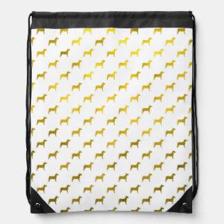 Dogs Gold Faux Foil Metallic Background Dog Design Drawstring Bag