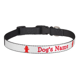 Dog's Name Hydrant Red Personalize Pet Collar